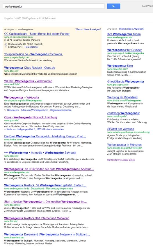 """Qbus ist bei """"werbeagentur"""" auf Platz 3 - dank der Lokalisierung der Suchergebnisse."""