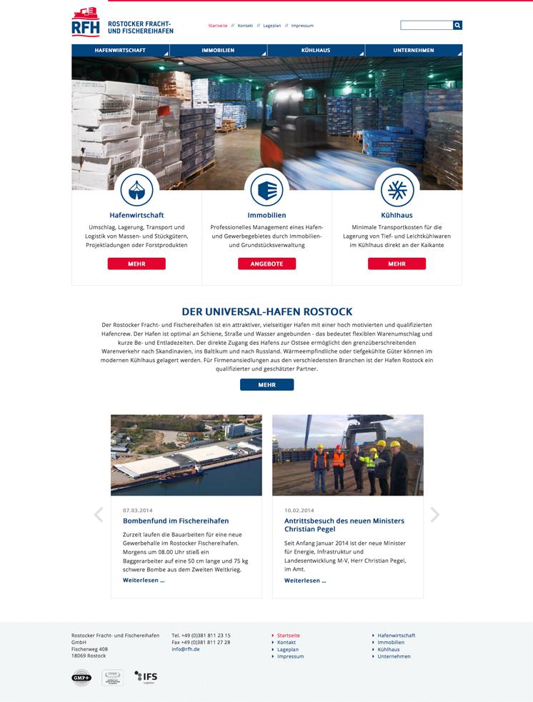 Website des Rostocker Fischerei- und Frachthafens