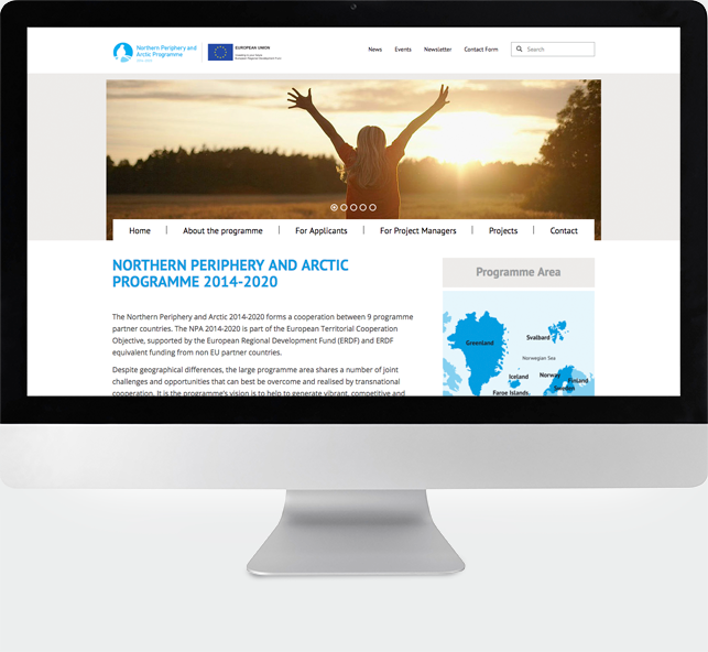 Website des EU-Förderprojekts INTERREG Northern Periphery and Arctic Programme 2014-2020 auf Basis des CMS TYPO3